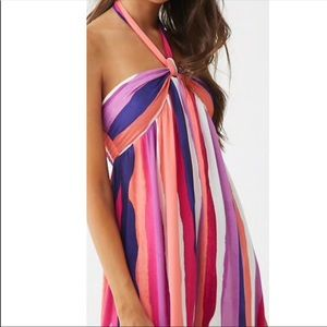 Halter neck striped maxi dress XS New With Tags